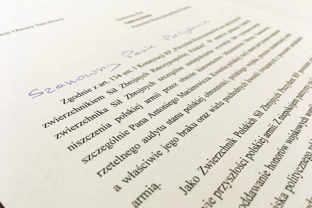 List od prezydenta o armii